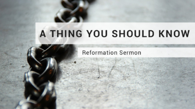 A Thing You Should Know. A Sermon By Dr. David Seccombe