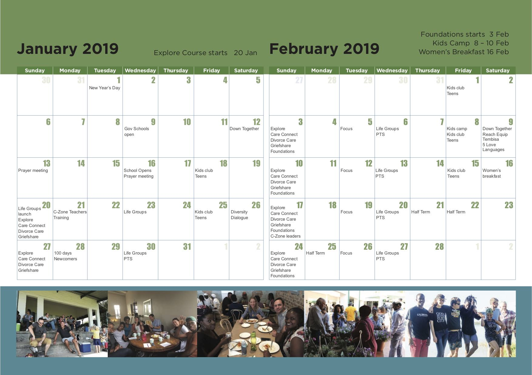3. CCM calendar 2019 - January and February