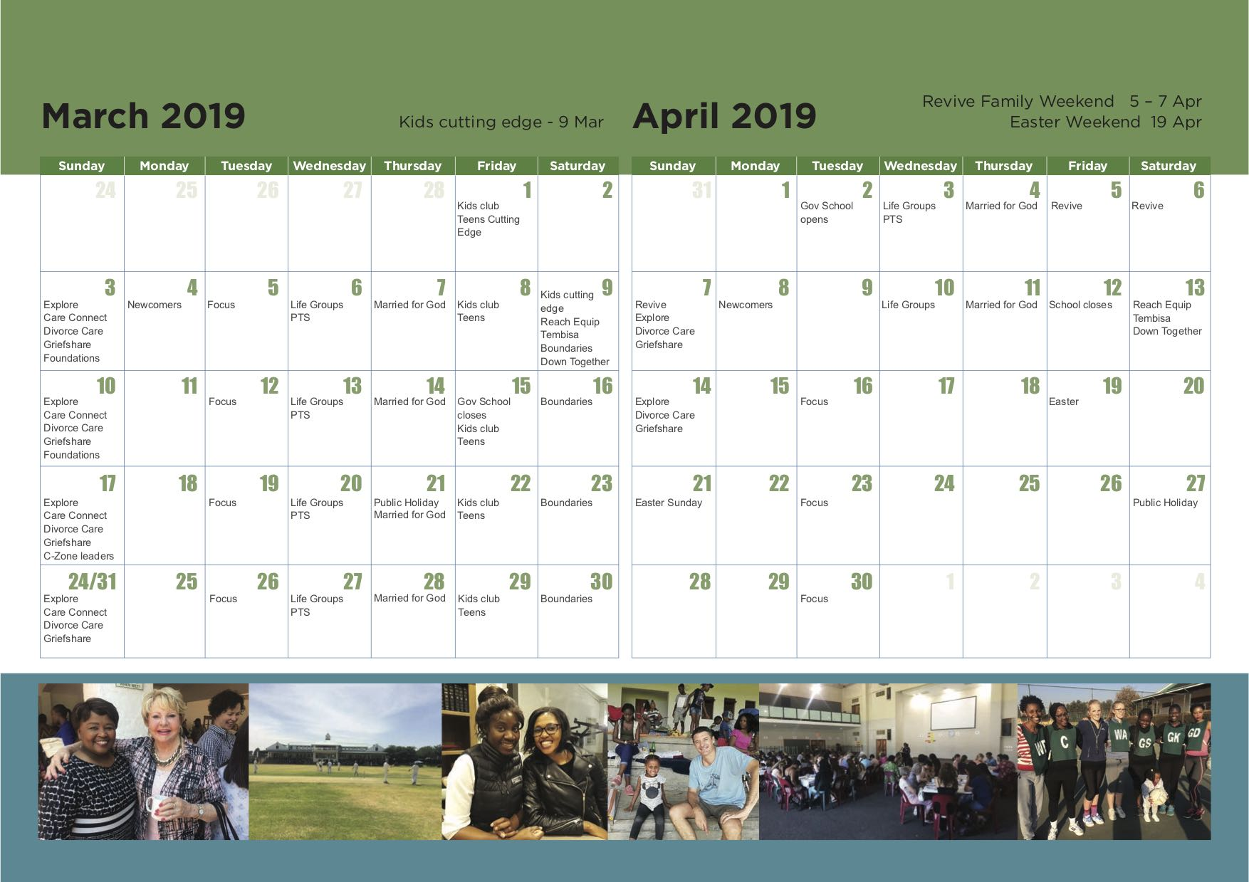 5. CCM calendar 2019 - March and April