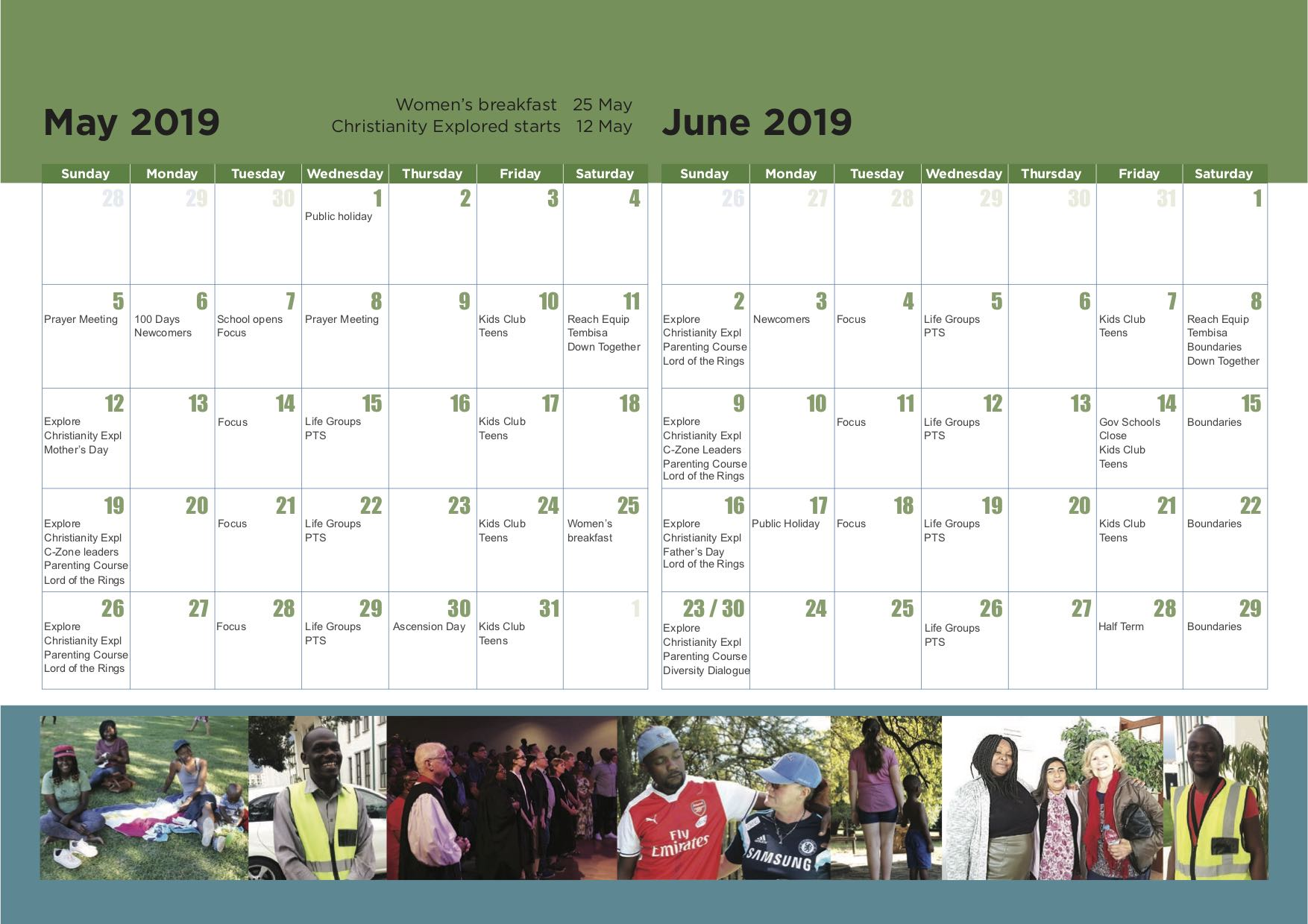 7. CCM calendar 2019 - May and June